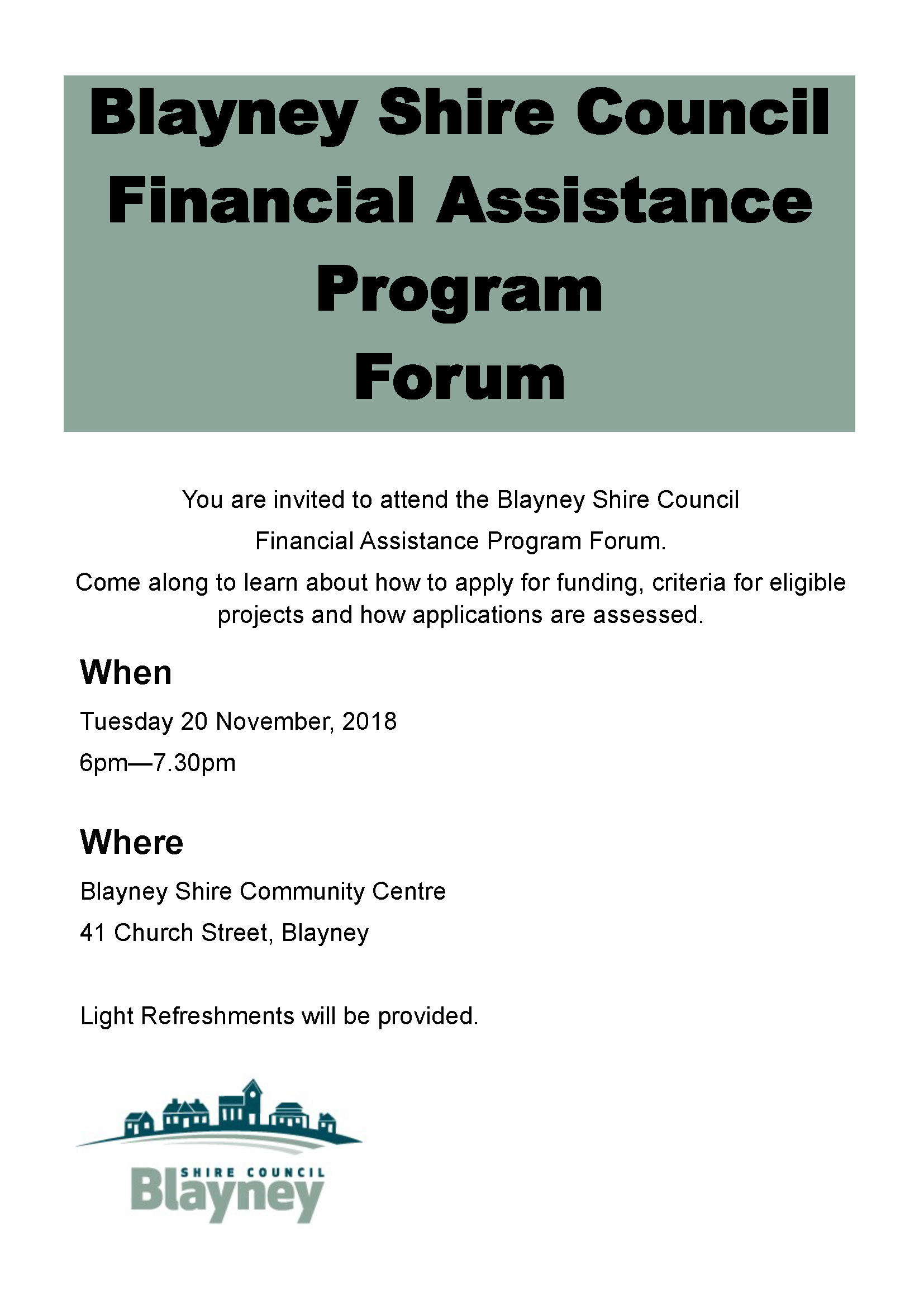 Blayney Shire Council Financial Assistance Forum Invitation and Flyer_Page_1