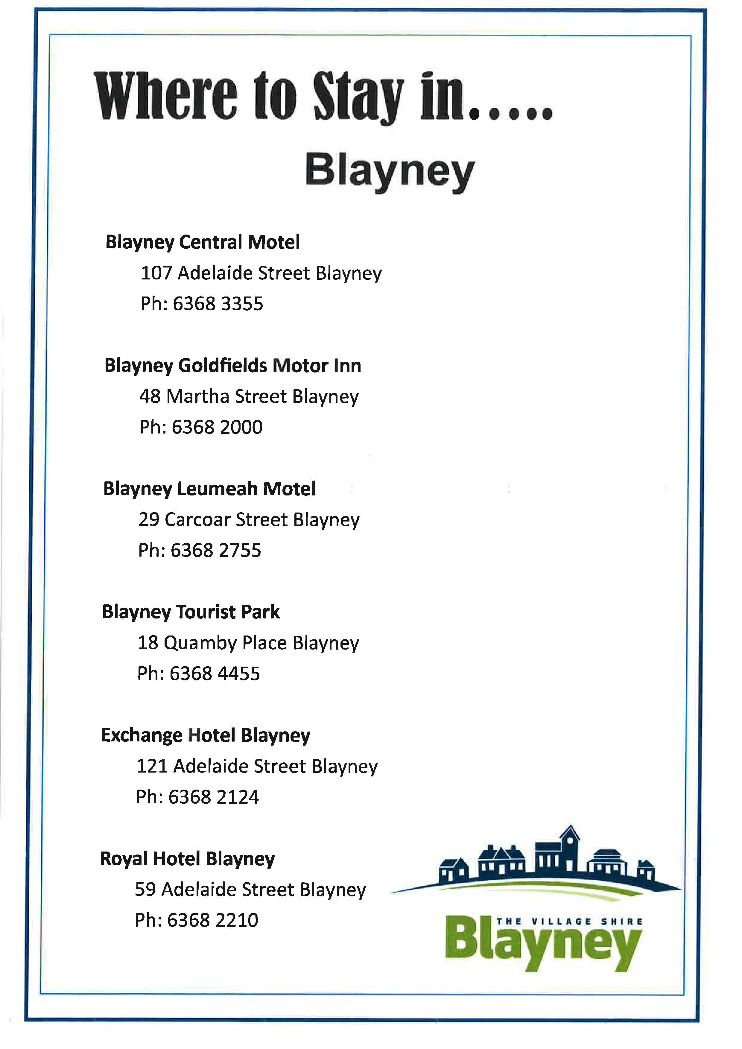 Where to eat and where to stay in Blayney and Villages_Page_1